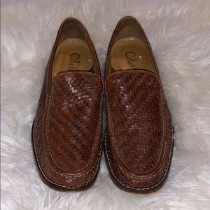 Cole Haan brown leather woven slip on loafers 10.5